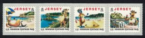 Jersey Tourism Lillie the Cow Self-adhesive 4v Strip Imprint '1997' SG#770-773