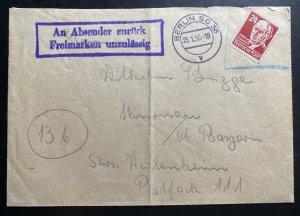 1950 Berlin Germany Returned To Sender Cover To Murnau