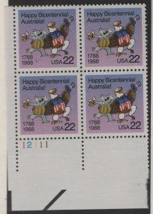 US, 2370, MNH, PLATE BLOCK, 1988, AUSTRALIA BICENTENNIAL