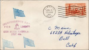 SC-1028, Independence Day, July 4, 1954, Liberty Miss, Addressed