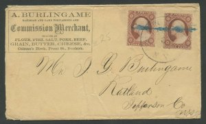 #25 (2 SINGLES) ON DUNKIRK, NY MERCHANT COVER 1859 W/ 2 ENCLOSURES (VF) BV2662