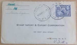 FIJI COVER GVI 1948 to NEW YORK