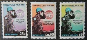 United Nations 1988 nobel prize peace keeping 3v mnh