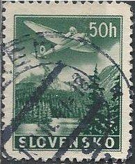 Slovakia C2 (used) 50h plane over Tatra Mountains, dk grn (1939)
