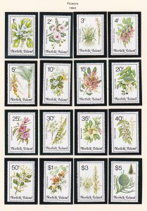 Norfolk Island, # 323-338, Flowers, NH, 1/2 Cat.