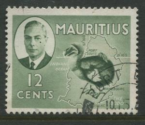 Mauritius - Scott 241 - KGVI Definitive Issue -1950 - FU -Single 12c Stamp