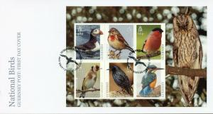 Guernsey 2019 FDC National Birds Europa Kingfishers Puffings 6v M/S Cover Stamps
