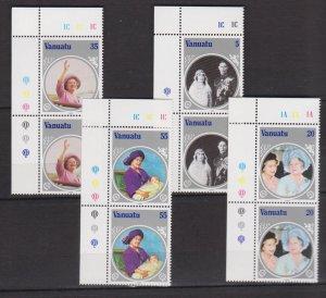 VANUATU - 1985 LIFE & TIMES OF QUEEN MOTHER - TRAFFIC LIGHT 4V PAIR MNH