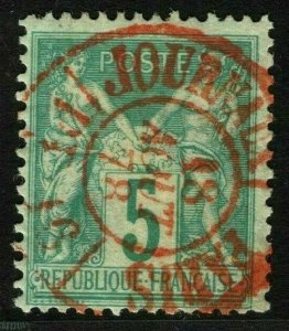 France 1876-78 5c Peace & Commerce SUPERB RED 1878 CDS Used VFU GREEN89