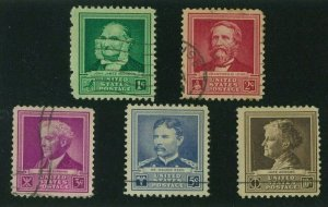 US 1940 Famous Americans:  Scientists, Scott 874-878 used, Value = $1.85