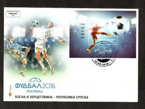 2016    BOSNIA  -  SG: N/A  -  FOOTBALL M/S FIRST DAY COVER