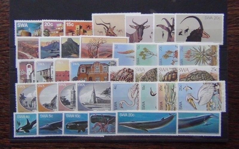 South West Africa 1976 1982 sets Birds Whales Canyon Aloes Tortoise Churches MNH