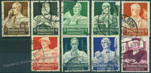 Germany Reich 1934 Mi 556-564 Set Used Professionals Issue 51160