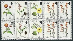 PITCAIRN 1970 Flowers blocks of 4 fine used................................41396