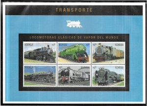 Nicaragua #2130 Trains  Sheet of 6 (MNH) CV$7.25