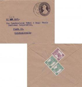 India 1/2a and 9p (2) KGVI on 1 1/2a KGVI Envelope 1947 Delhi G.P.O. to Pragu...