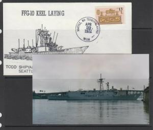 USS Ship - KEEL LAID for FFG-10 with picture photocard - NICE!!