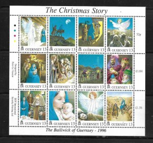 GUERNSEY, 583, MNH , SHEET OF 12, THE CHRISTMAS STORY 1996
