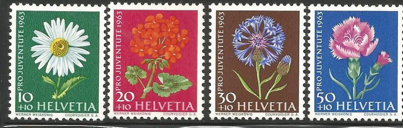 SWITZERLAND B330-B333, MNH, C/SET OF 4 STAMPS, NATIVE FLOWERS, TYPE OF 1960