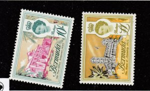 BERMUDA # 190-191 VF-MNH 1962-65 QEII /LANDMARK DESIGNS  CAT VALUE $19