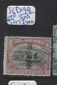 NORTH BORNEO (PP0210B)  POSTAGE DUE 8C OVPT UP ONLY KNOWN CTO, BPA CERT SGD19A