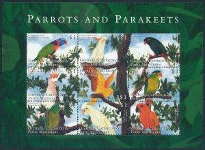 [108894] Carriacou Petite Martinique 2000 Birds Parrots Parakeet Mini sheet MNH