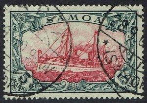 GERMAN SAMOA 1901 YACHT 5MK NO WMK USED