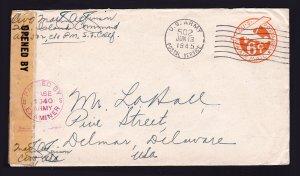 SCOTT #UX4 NO BORDER SAN FRANCISCO CA APO 502 (NEW CALEDONIA) AIR MAIL 1945