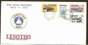 LESOTHO 1972 POST OFFICE CENTENERY, STAMP ON STAMP, BUS, HORSE CART FDC # 6609