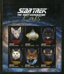 MARSHALL IS.2018 STAR TREK THE NEXT GENERATION CATS IMPERFORATE SHT II  MINT NH