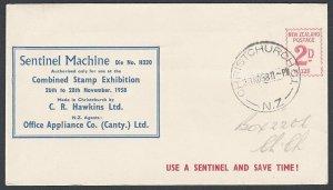 NEW ZEALAND 1958 Hawkin's Sentinel 2d meter cover - Chch stamp exhibition...L270