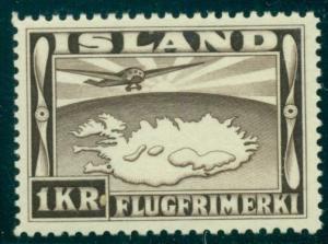 ICELAND #C19 (208) 1kr Airmail, og, NH, XF, Scott $54.00