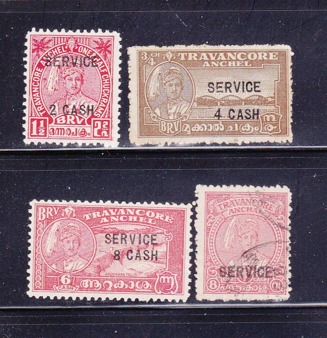 India Travancore O57-O60 Set U Various