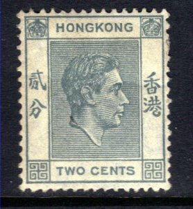 Hong Kong 1938 - 52 KGV1 2ct Grey MM SG 141a perfs 14 1/2 ( F1370 )