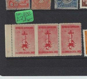 DOMINICAN REPUBLIC  (P1305B) SC RA1  STRIP OF 3, L 2 IMPERF BETWEEN   MNH