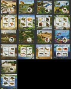 PE203-212 2012 MALI WILD ANIMALS BIRDS REPTILES FISHES FAUNA 9KB+9BL MNH STAMPS