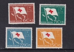 Netherlands Antilles    #B39-B42     MNH  1958    flags  .  red cross