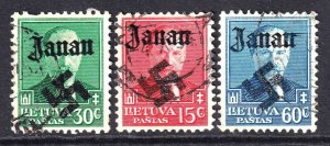 LITHUANIA 283-285 WW2 JANAU OVERPRINT CDS F/VF TO VF SOUND