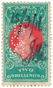 (I.B) Australia - NSW Revenue : Stamp Duty 2/- (Royal Insurance perfin)