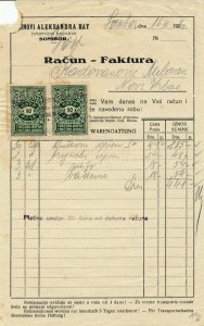 SERBIA 1928 NICE CLEAN INVOICE WITH  2 X10 PARA TAX STAMPS
