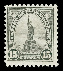 Scott 566 1922 15c Liberty Flat Plate Issue Mint F-VF OG NH Cat $35