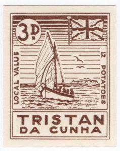 (I.B) Tristan da Cunha Postal : Local Post 3d (Yacht)