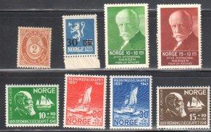 Norway #37, 129 VF NH, B5, B6, B20 to B23 all Mint H