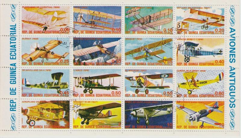 EQUATORIAL GUINEA CTO Scott # Planes Sheet of 20 (1 Sheet) (2)