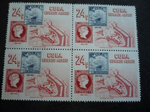 Stamps - Cuba - Scott#C110-C113 - Mint Hinged Set of 4 Stamps in Blocks