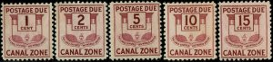 CANAL ZONE #J25-29 1932-41 1 TO 15 CENT POSTAGE DUE ISSUES--MINT-OG/VLH--VF