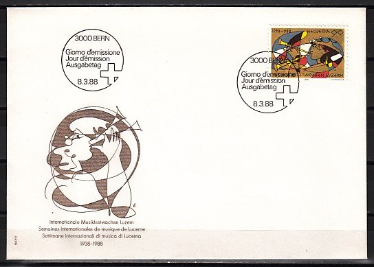 Switzerland, Scott cat. 821. Woman with Music Instrument. First day cover. ^