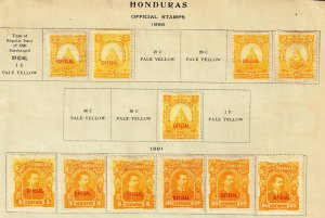 HONDURAS STAMP 1890-91  OFFICIAL MINT STAMPS ON ALBUM PAGE