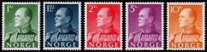 Norway Scott 370-374 (1959) Mint NH VF Complete Set, CV $90.50 C