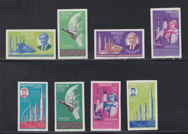 Paraguay # 836-842, John F. Kennedy, Space Achievements, Imperf, NH, 1/2 Cat.